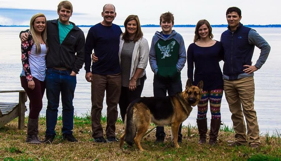 The Flyway Lodge family. From left to right, Savannah Blalock, longtime girlfriend of Clay Dowdey, the owners' son; Clay; co-owner Paul Dowdey; co-owner Michelle Dowdey; Tanner Dowdey, the owners' son; Allison Ceballos, the owners' daughter; and Brian Ceballos, Allison's husband.