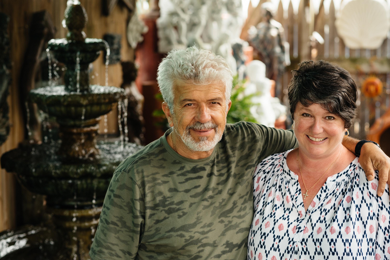 Basil and Jo Kiourtzidis Cast Stone Studio Currituck County North Carolina