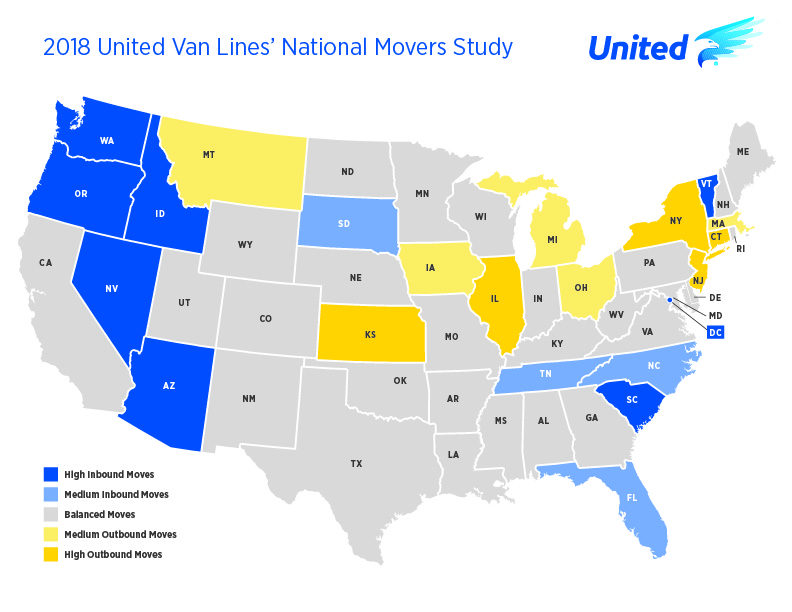 United Van Lines - 2018 National Movers Study - Static Map Graphic