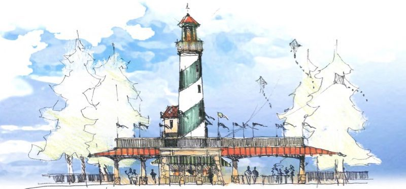 Lighthouse sketch of H2OBX Waterpark Currituck County North Carolina